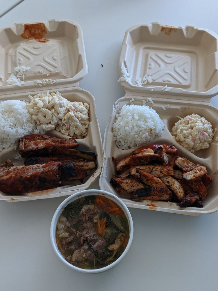 ribs, chicken and ox tail from Kealoha's BBQ