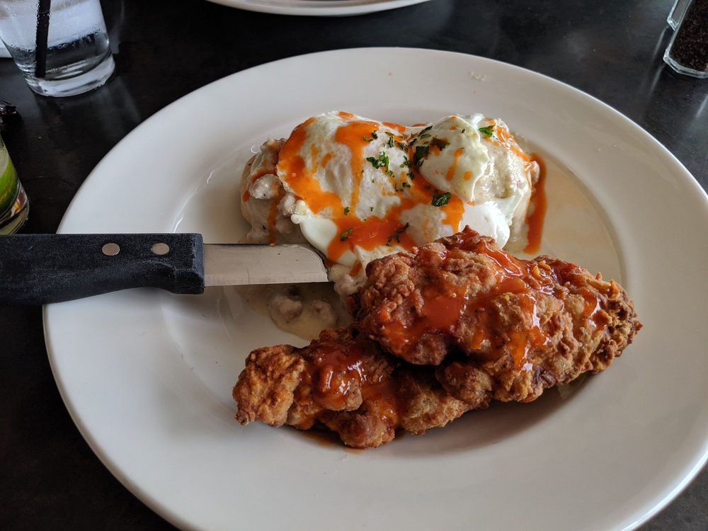 chicken fried biscuits and gravy - Dine-In at The Lobby pic by Damion W on Yelp