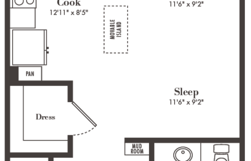 S4 studio/one bath floorplan - Fantastic Studio Apartment